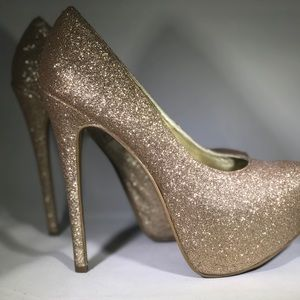 Shoes - Gold glitter sparkle chunky heels